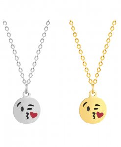 Heart Kiss Emoji ketting